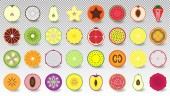 Set of icons fresh and colorful fruits and berries cut in half isolated Apple coconut pear carambola papaya watermelon peach strawberry tangerine kiwi jackfruit pineapple lime and others