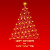 Merry Christmas and happy New year Shiny new year tree Beautiful gold and silver sequins with lights EPS10