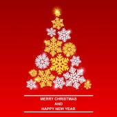 Merry Christmas and happy New year Shiny new year tree Beautiful gold and silver snowflakes with glitter and snow EPS10