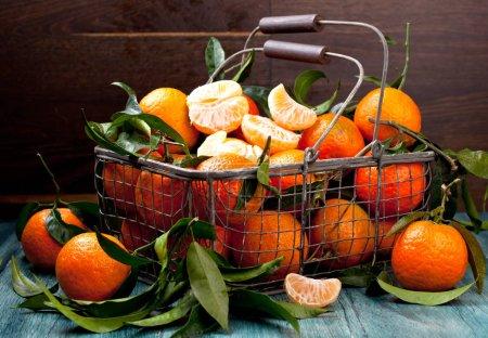 Photo pour Mandarines fraîches cueillies dans un vieux panier en métal - image libre de droit