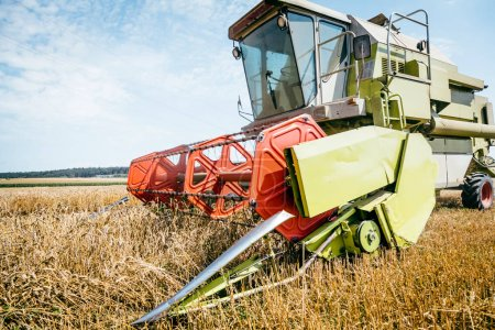 Foto de Agrícola para la cosecha de cultivos de granos en el campo - Imagen libre de derechos