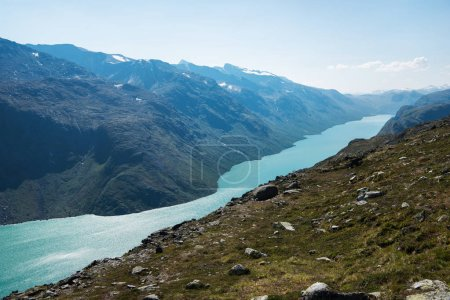 scenery landscape with Gjende lake, Besseggen ridge, Jotunheimen National Park, Norway