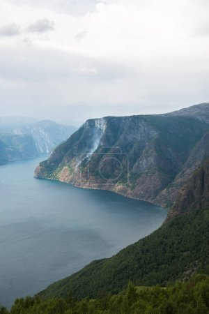 beautiful landscape with sea and Aurlandsfjord from Stegastein viewpoint, Aurland, Norway
