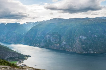 majestic landscape with sea and Aurlandsfjord from Stegastein viewpoint, Aurland, Norway