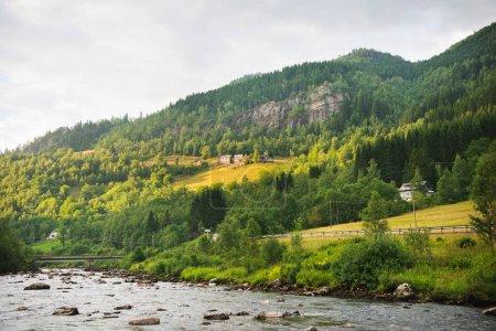 Photo pour Paysage pittoresque avec rivière et montagnes verdoyantes à Gudvangen, Neirofjord, Norvège - image libre de droit