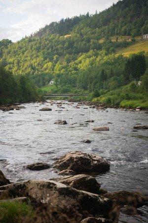 Photo pour Paysage paysage avec rivière de montagne à Gudvangen, Neirofjord, Norvège - image libre de droit