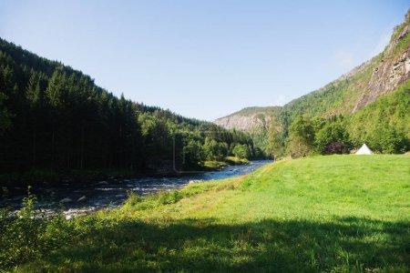 Photo pour Paysage estival avec rivière et forêt à Gudvangen, Neirofjord, Norvège - image libre de droit