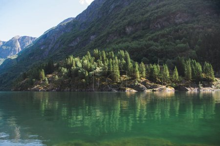 Photo for Majestic landscape with lake and mountains in Gudvangen, Neirofjord, Norway - Royalty Free Image