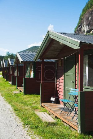 Photo for Row of houses in Gudvangen, Neirofjord, Norway - Royalty Free Image