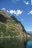 scenic lake and mountains in Gudvangen, Neirofjord, Norway