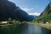beautiful lake and green mountains in Gudvangen, Neirofjord, Norway