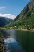beautiful lake and mountains in Gudvangen, Neirofjord, Norway