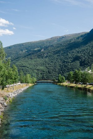 beautiful landscape with mountains and majestic fjord, Gudvangen, Neirofjord, Norway