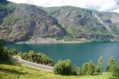 """Постер, картина, фотообои """"Аэрофотоснимок величественного пейзажа с красивыми горами и Аурландс-фьорд, Флам (Aurlandsfjorden), Норвегия"""""""