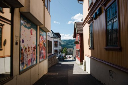 Photo pour Hamar, Hedmark, Norvège - 26 juillet 2018: Vue éloignée des gens marcher au milieu urbain de la rue - image libre de droit