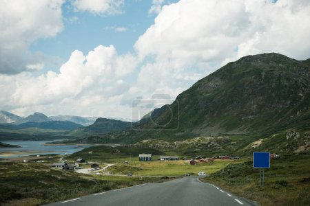 scenic view of road and mountainous, Hallingskarvet National park, Norway