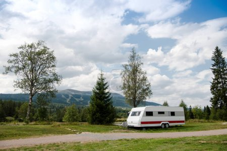parked trailer near mountains in Trysil, Norway's largest ski resort