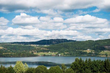 Photo pour Vue aérienne des arbres et du lac dans le parc national de Hallingskarvet, Norvège - image libre de droit