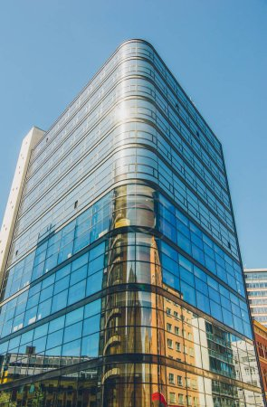 Photo for Low angle view of modern office building against blue sky, oslo, norway - Royalty Free Image