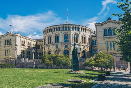 Photo for Beautiful architecture of norwegian parliament building in oslo - Royalty Free Image
