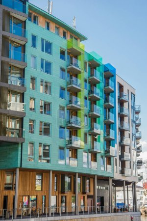 Photo for Bright contemporary building at Aker Brygge district, Oslo, Norway - Royalty Free Image