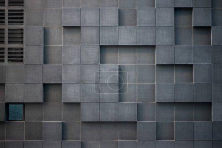 Photo pour Vue plein cadre moderne architecture grise géométrique au district de codes à barres, Oslo - image libre de droit