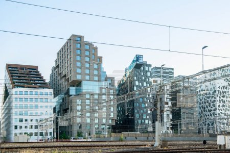 Photo for Contemporary buildings at railway station at Barcode district, Oslo, Norway - Royalty Free Image
