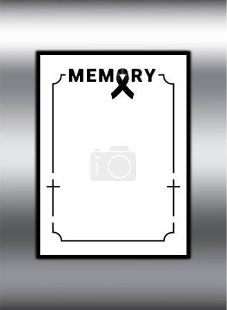 Illustration for Black awareness ribbon on white background. Mourning symbol. RIP Funeral card Black Ribbon on Metallic Background Vector - Royalty Free Image