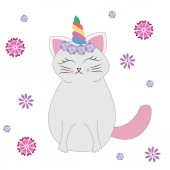 Cute cat with unicorn horn or caticorn Can be used as a greeting card sticker kids t-shirt design print or posterVector