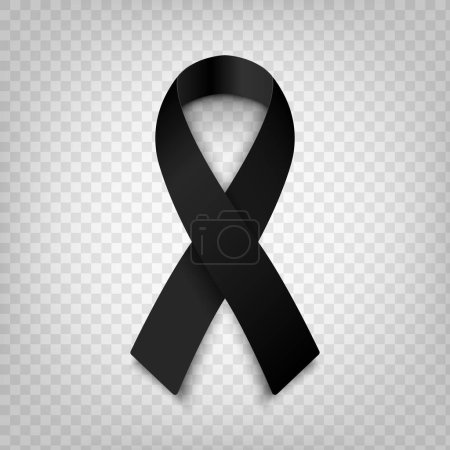 Illustration for Stock vector illustration black awareness ribbon on transparent background. Mourning and melanoma symbol. Terrorism. Death EPS 10 - Royalty Free Image