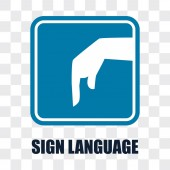 hand with sign language gesture on transparent background vector illustration