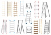 Ladders Set Made from Different Materials: Wood and Metal Rope Ladder Vector Illustration