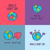 Global heart day banner set hand drawn style