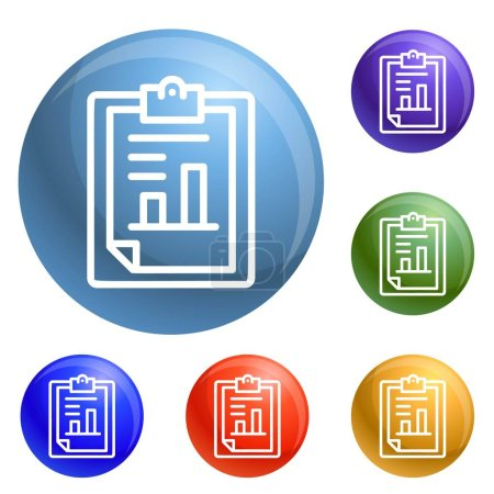 Finance paper graph icons set vector