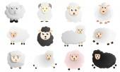 Sheep icon set cartoon style