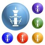 Underwater turbine icons set vector 6 color isolat...