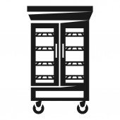 Refrigerator with glass doors icon simple style