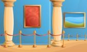Museum pillar concept banner cartoon style
