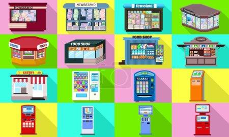 Photo for Kiosk icons set. Flat set of kiosk vector icons for web design - Royalty Free Image