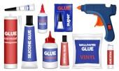 Glue icons set realistic style