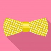 Striped gold bow tie icon flat style