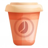 Paper coffee cup icon cartoon style