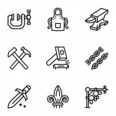 Steel blacksmith object icon set outline style