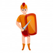 Young gladiator icon cartoon style