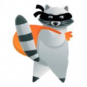 Raccoon burglar icon cartoon style