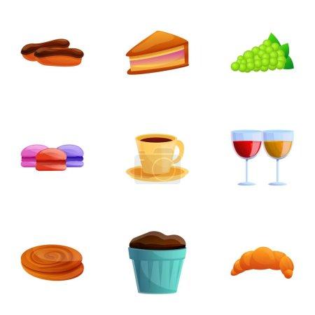 Illustration pour Ensemble icône de la cuisine française. Dessin animé ensemble de 9 icônes vectorielles alimentaires françaises pour la conception web isolé sur fond blanc - image libre de droit