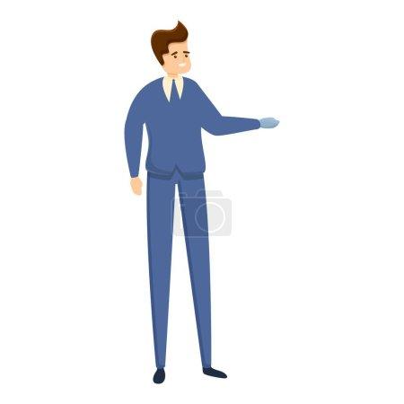 Illustration pour Homme d'affaires avec icône de prothèse. Caricature d'homme d'affaires avec icône vectorielle de prothèse pour la conception web isolé sur fond blanc - image libre de droit