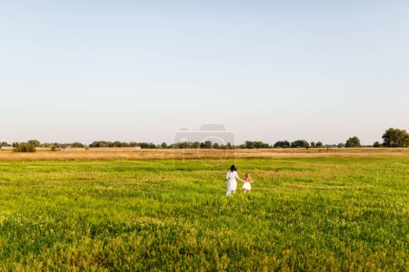 Photo for Aerial view of mother and daughter running in green field - Royalty Free Image