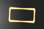Shining yellow led vector rectangle frames neon illumination on transparent background Glowing decorative rectangle tapes of diode ecological lamps light effect for banners web-sites