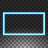 Shining blue led vector rectangle frames neon illumination on transparent background Glowing decorative rectangle tapes of diode ecological lamps light effect for banners web-sites